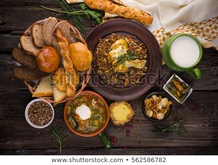 русский продовольствие таблице соленья сыра мяса Сток-фото © olira