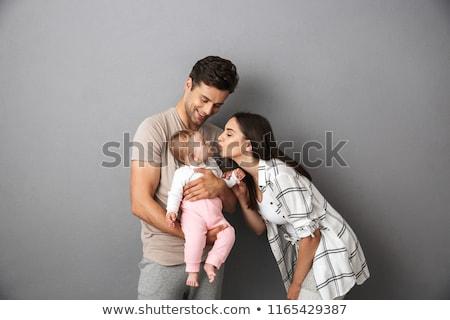 Foto stock: Sorridente · pais · little · girl · sorrir · amor · homem