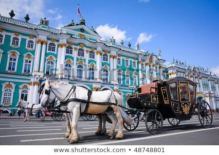 экипаж лошадей лошади синий архитектура Сток-фото © Aikon