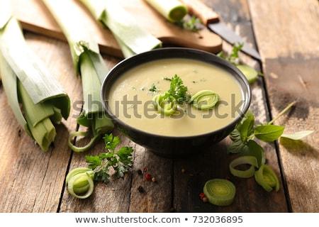 Kom prei soep voedsel groene diner Stockfoto © M-studio