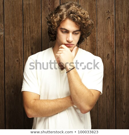 Portrait jeune homme blanche main visage Photo stock © wavebreak_media