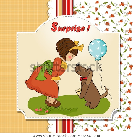 Fiatal lány kutya csodálatos születésnap üdvözlőlap nők Stock fotó © balasoiu