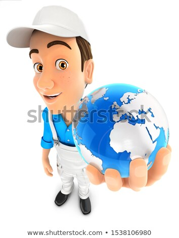 3d White Man In Overalls Holding The Earth ストックフォト © 3dmask