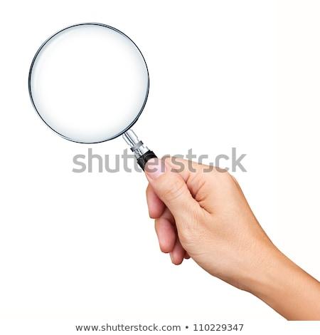 Kéz nagyító izolált fehér fém fekete Stock fotó © natika