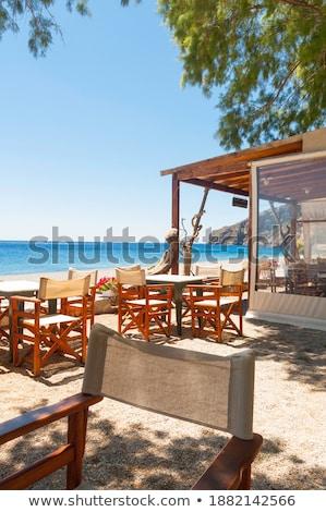 Kicsi asztal székek Görögország Európa ház Stock fotó © haraldmuc