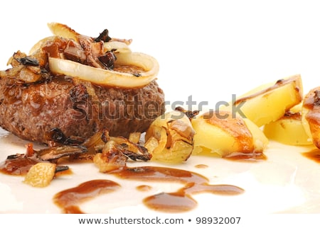 Danish hamburger beef with potatoes and onions Stock photo © Klinker