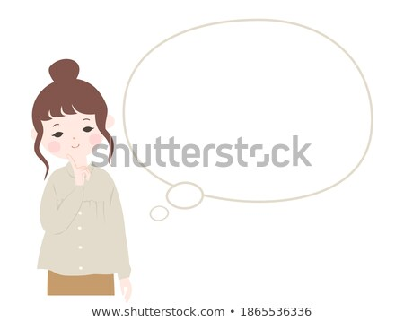 cartoon pretty girl tilting head with thought bubble Stock photo © lineartestpilot