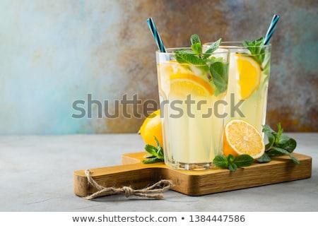 Сток-фото: лимонад · стекла · полный · лимона · белый
