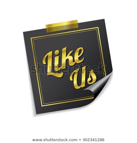 like us golden sticky notes vector icon design stock photo © rizwanali3d