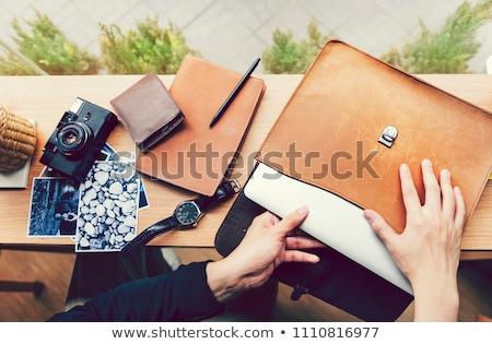 Laptop zak geïsoleerd witte business computer Stockfoto © jordanrusev
