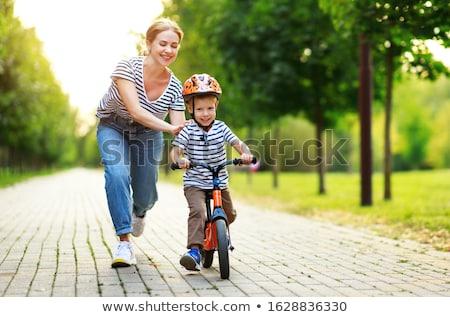 Küçük erkek kask portre gülümseme Stok fotoğraf © zurijeta