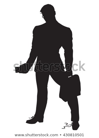 strong leader businessman untied shoelaces black silhouette figu Stock photo © studiostoks