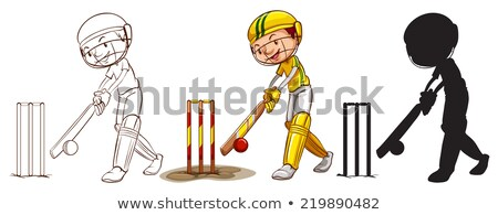 sketches of a cricket player in different colours stock photo © bluering