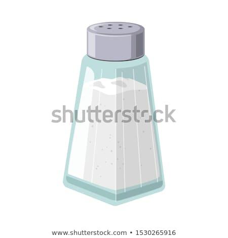 sal · pimenta · branco · vetor · mão · vidro - foto stock © bluering