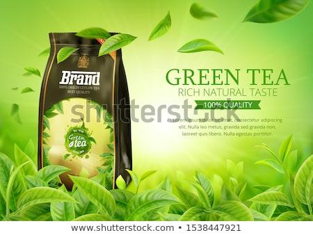 зеленый · чай · Баннеры · вектора · чай · листьев · капли - Сток-фото © blackmoon979
