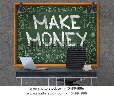 chalkboard on the office wall with make money concept stock photo © tashatuvango