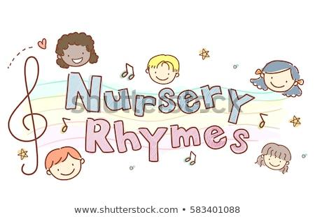 Gyerekek faiskola tipográfia illusztráció szavak gyerekek Stock fotó © lenm