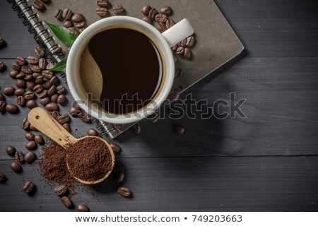 Bowl of coffee beans on canvas Stock photo © dash