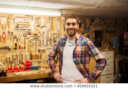 sorridere · falegname · faccia · legno · moda · lavoro - foto d'archivio © dolgachov