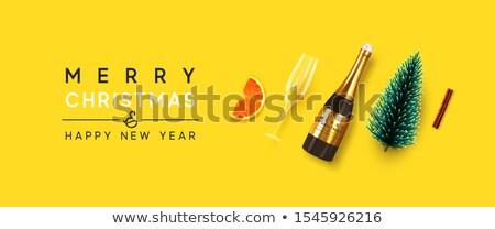 şampanya · hediye · noel · hediye · kutusu - stok fotoğraf © karandaev