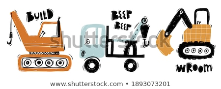 Stockfoto: Tractor And Loader Posters Set Vector Illustration