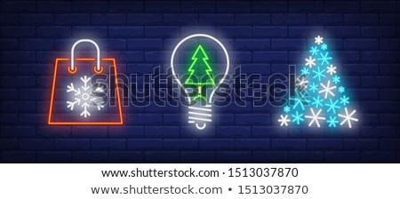 Hópelyhek villanykörték gyűrű sablon karácsony szürke Stock fotó © romvo