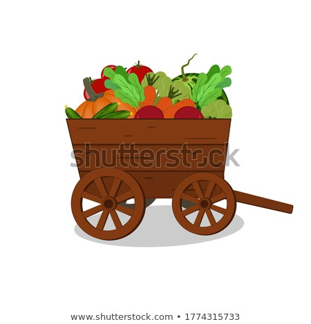 Fresh carrots in wooden wagon Stock photo © colematt