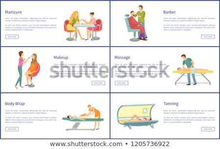 Manicure and Manicurist Tanning Posters Set Vector Stock photo © robuart