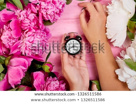 Virágárus munka kezek nő tart ébresztőóra Stock fotó © Illia