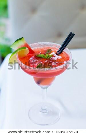Stock fotó: Görögdinnye · koktél · fehér · limonádé · fekete · friss