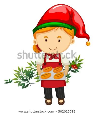 Noel fırıncı ekmek örnek kadın çalışmak Stok fotoğraf © colematt