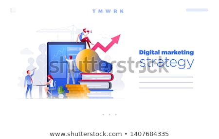 People are working on financial issues web page template. Stock photo © sgursozlu