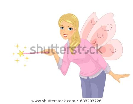 Stockfoto: Girl Teacher Wand Fairy Costume Illustration