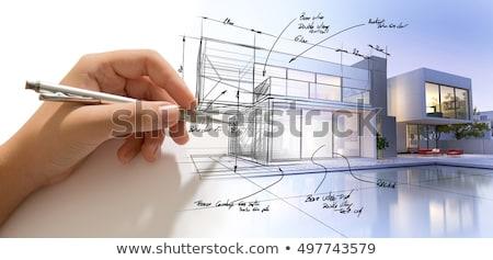Pencil drawing house plan concept Stock photo © ra2studio