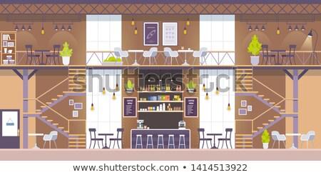 Lege cafetaria moderne meubels ontwerp Stockfoto © magraphics