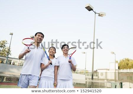 画像 楽しい 女性 男 演奏 テニスコート ストックフォト © deandrobot