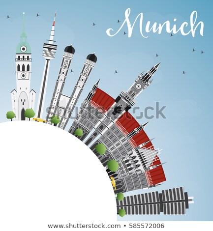 Munich horizonte gris edificios cielo azul espacio de la copia Foto stock © ShustrikS
