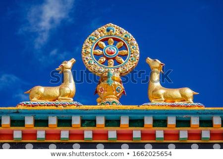 Buddhist Wheel of the Law on monastery, India Stock photo © dmitry_rukhlenko