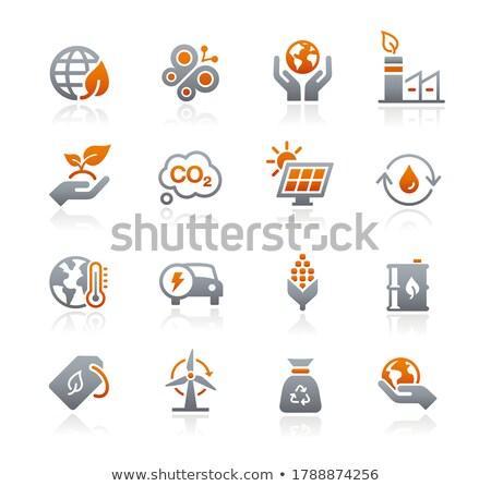 Ecología energía renovable iconos grafito vector web Foto stock © Palsur