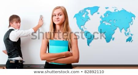 twee · studenten · meisje · jongen · presentatie - stockfoto © HASLOO