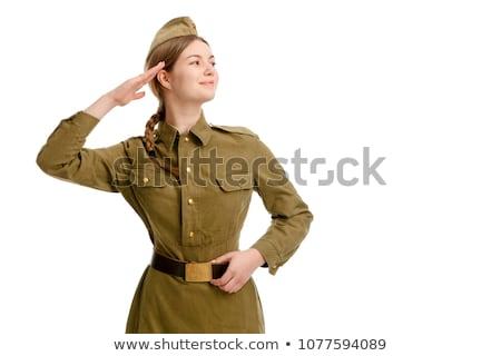soldaten · man · woestijn · pistool · soldaat · target - stockfoto © broker