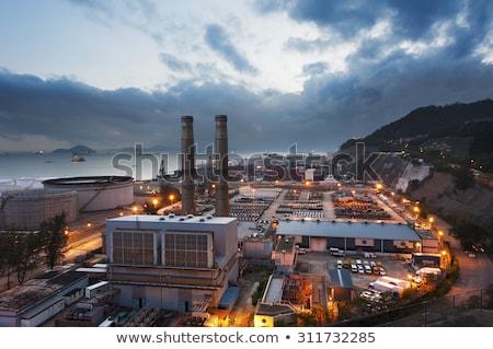Erőmű ipari magas füst fém kék Stock fotó © smuki