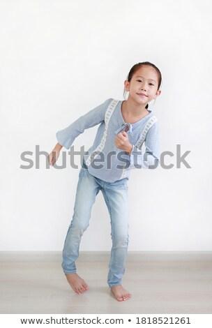 Stok fotoğraf: Mutlu · sevimli · bebek · duvar · kırmızı · kız