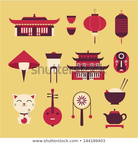 Reizen iconen vector ingesteld gestileerde chinese Stockfoto © vectorpro
