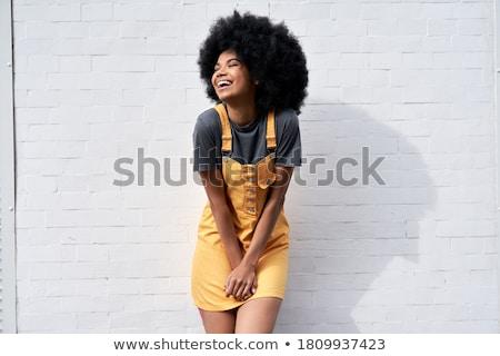 Divatos gyönyörű nő visel paróka közelkép lány Stock fotó © tobkatrina