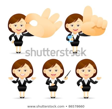 Rajz nő magyaráz kéz terv őrült Stock fotó © lineartestpilot