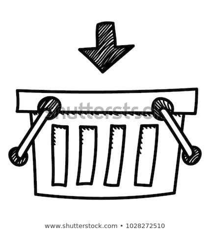 carrinho · de · compras · ícone · moderno · linha · esboço · rabisco - foto stock © pakete
