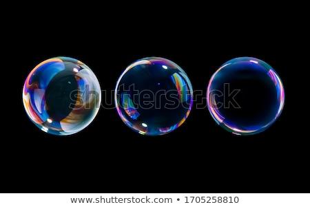 Zeepbellen zwarte water groene leuk kleur Stockfoto © artush