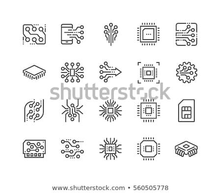 процессор линия икона уголки веб мобильных Сток-фото © RAStudio