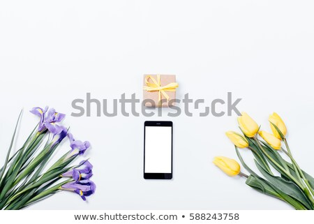 Black Gift box with violet ribbon and bouquet of flower Stock photo © Illia